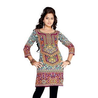 Purple 3/4 sleeve Indian Printed Kurti Tunic Women Kurta