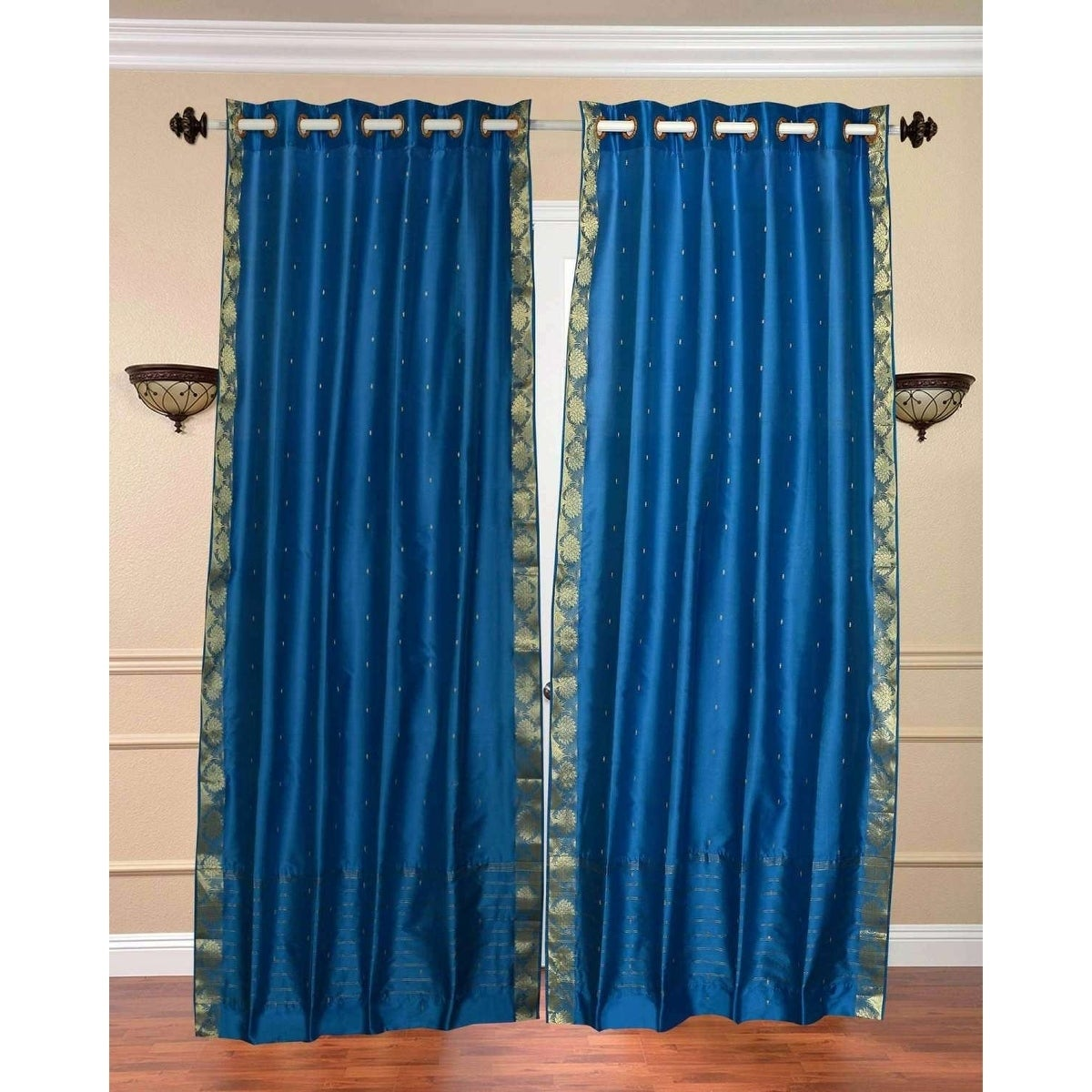 Piece Drape Island Blue  Tie Top  Sheer Sari Curtain Panel
