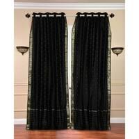 Black Ring Top  Sheer Sari Curtain / Drape / Panel  - Piece