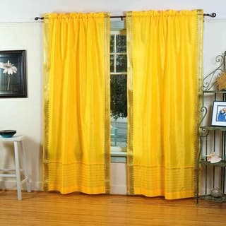Yellow Rod Pocket Sheer Sari Curtain Drape Panel