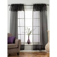Black Rod Pocket w/ attached Valance Sheer Tissue Curtains - Piece - 43 x 84 inches (109 x 213 cms)