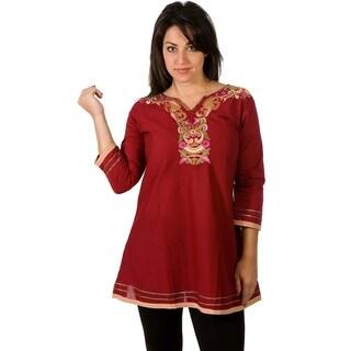 Cotton Kurti / Tunic with neckline embroidery work