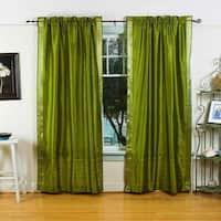 Olive Green Rod Pocket  Sheer Sari Curtain / Drape / Panel  - Pair