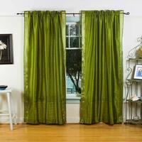 Olive Green Rod Pocket  Sheer Sari Curtain / Drape / Panel  - Piece