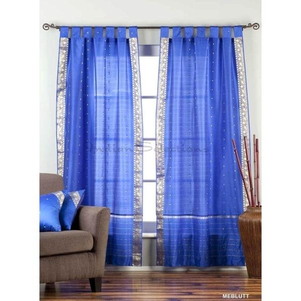 Enchanting Blue Tab Top Sheer Sari Curtain / Drape / Panel - Pair