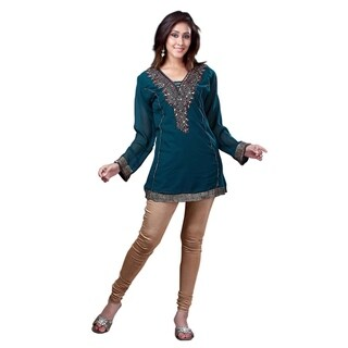 Rama Green Georgette Kurti/Tunic with designer embroidery