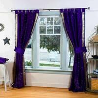 3 Purple Tab Top Sari Curtain (43 in. x 84 in.) - 6 matching tieback - 43 x 84 inches (109 x 213 cms)