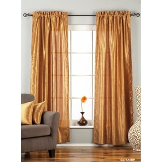 """Gingery Gold Rod Pocket Textured Curtain / Drape / Panel - 84"""" - Piece - 43 X 84 Inches (109 X 213 Cms)"""