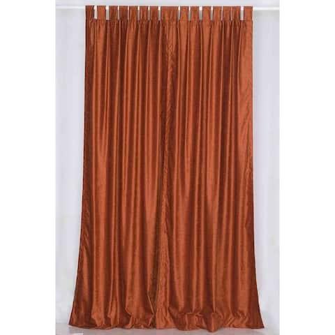 Handmade Rust Tab Top Velvet Curtain Piece (India)