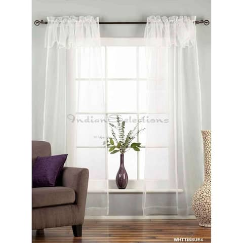 "White Rod Pocket w/ attached Valance Sheer Tissue Curtain/Drape/Panel-84""-Piece - 43 X 84 Inches (109 X 213 Cms)"