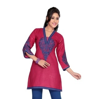 Hot Pink Cotton kurti / Tunic with blue embroidery