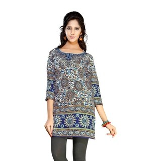 Dark Blue 3/4 sleeve Indian Printed Kurti Tunic Women Kurta (2 options available)