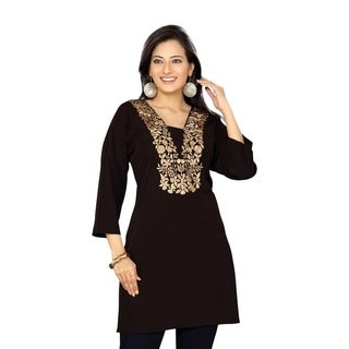 Black crepe kurti / Tunic with golden embroidery (3 options available)