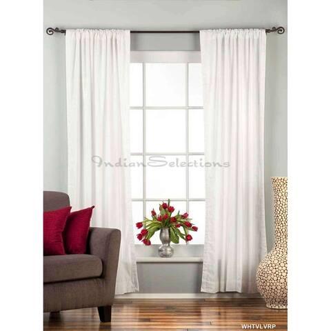 Handmade White Rod Pocket Velvet Curtain Piece (India)
