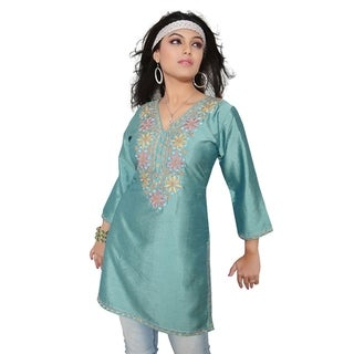 Island Green 3/4-sleeve Kurti/ Tunic with Designer Embroidery (India) (2 options available)