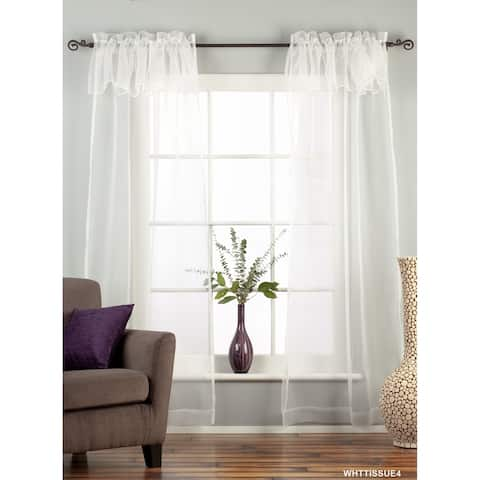 "White Rod Pocket w/ attached Beaded Valance Sheer Tissue Curtain-84""-Piece - 43 X 84 Inches (109 X 213 Cms)"