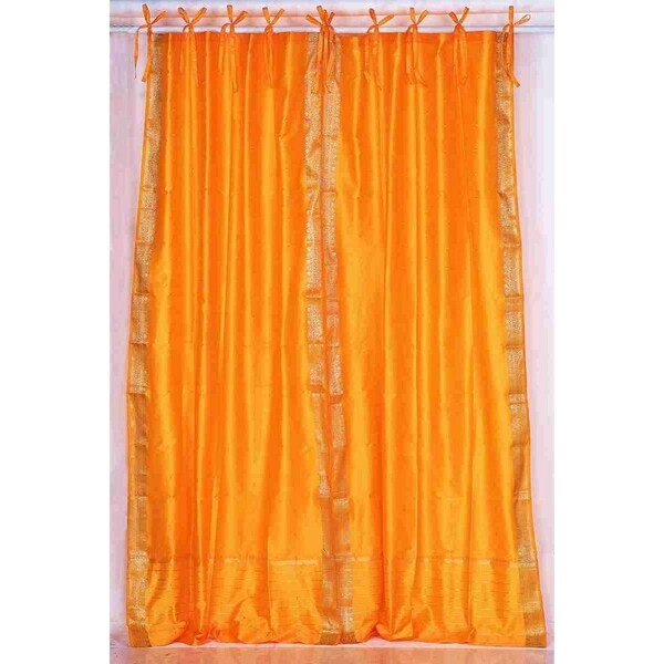 Pumpkin Tie Top Sheer Sari Curtain / Drape / Panel - Pair