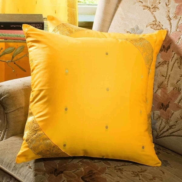 Shop Yellow Decorative Handcrafted Cushion Cover Throw