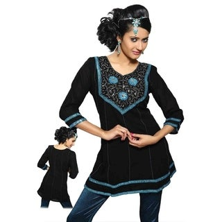 Black Kurti crushed georgette with ribbon worked neckline and lace borders. (3 options available)