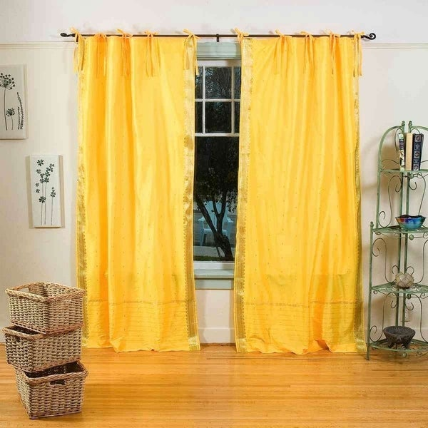 Shop Yellow Tie Top Sheer Sari Curtain / Drape / Panel