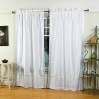 White Silver  Rod Pocket  Sheer Sari Curtain / Drape / Panel  - Pair