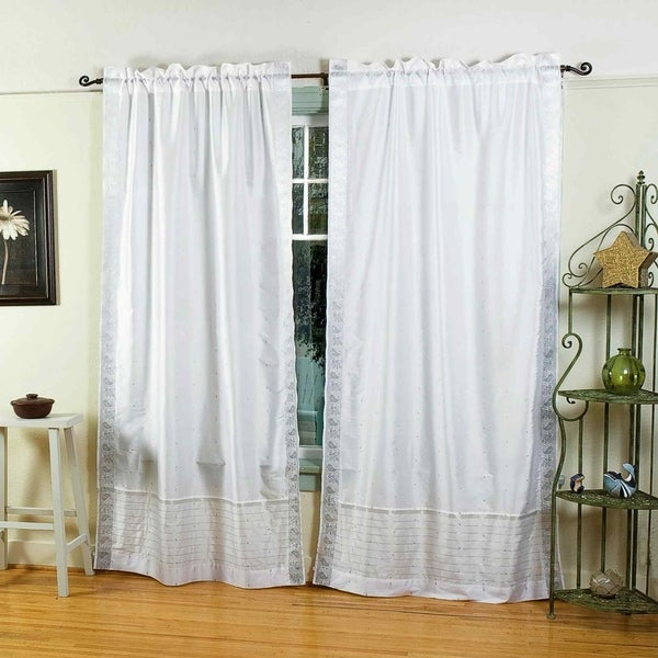 Shop White Silver Rod Pocket Sheer Sari Curtain Drape Panel