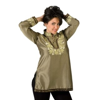 Henna Art silk Kurti / Tunic with thread embroidery and sequence work