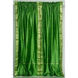 Forest Green Rod Pocket  Sheer Sari Curtain / Drape / Panel  - Piece