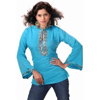 Blue long sleeves Kurti/Tunic with designer bead work