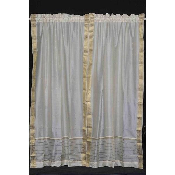 Cream Rod Pocket Sheer Sari Curtain / Drape / Panel - Pair
