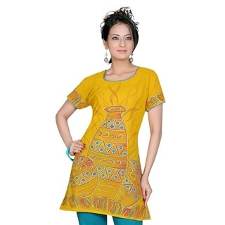 Mustard Crepe 3/4 sleeves Kurti/Tunic with hand brush print