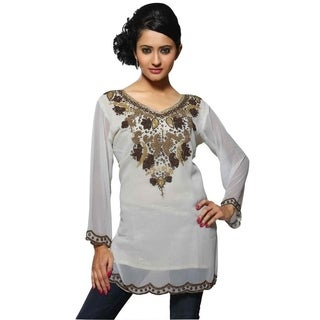 Fine Georgette Kurti with Antique/Gold worked Neckline & Daaman