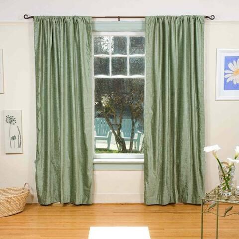 Handmade Olive Green Rod Pocket Velvet Curtain Piece (India)