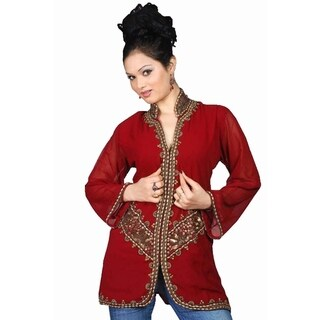 Burgundy long sleeves Kurti/Tunic with jacket style beadwork