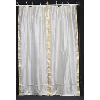 Cream  Tie Top  Sheer Sari Curtain / Drape / Panel  - Pair