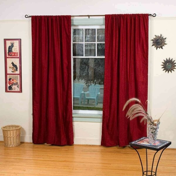 Burgundy Rod Pocket Velvet Curtain / Drape / Panel - Piece