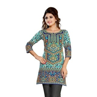 Turquoise 3/4 sleeve Indian Printed Kurti Tunic Women Kurta (2 options available)