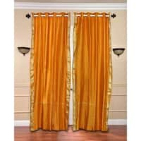 Mustard Ring Top  Sheer Sari Curtain / Drape / Panel  - Piece