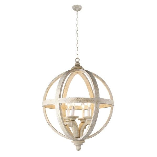 Y-Decor Hercules 4 Light Chandelier in Wooden Globe Frame - Neutral