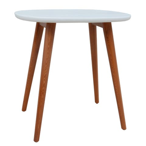 Porthos Home Side Table with Solid Pine Oval Top and Four Wooden Legs