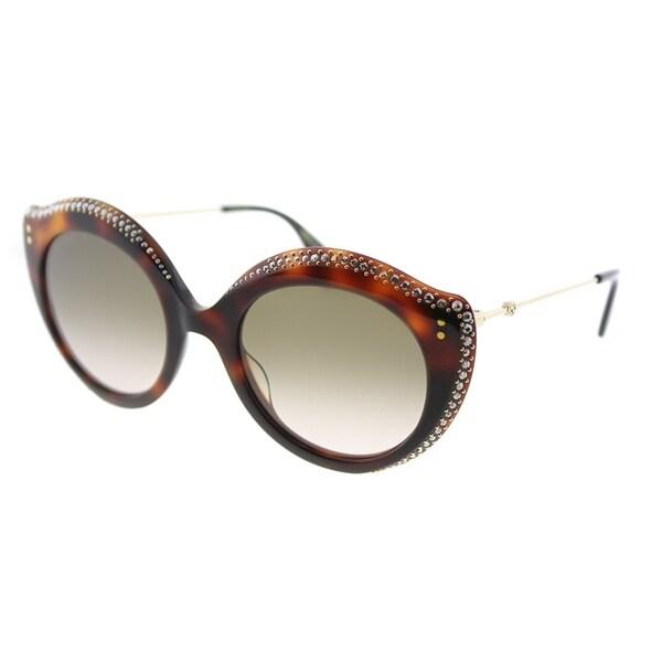a186b7a37b Gucci Fashion GG 0214S 003 Women Havana Frame Brown Gradient Lens Sunglasses