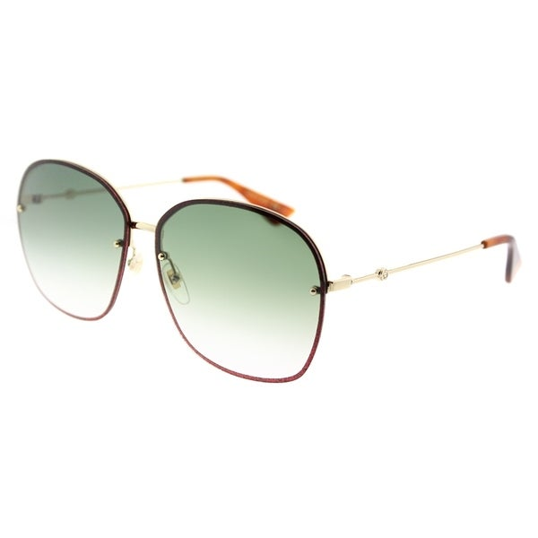 fb05302f185 Gucci Oval GG 0228S 001 Women Gold Frame Green Gradient Lens Sunglasses