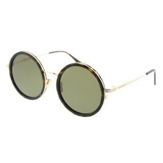 Saint Laurent Round SL 136 Combi 004 Unisex Havana Frame Green Lens Sunglasses