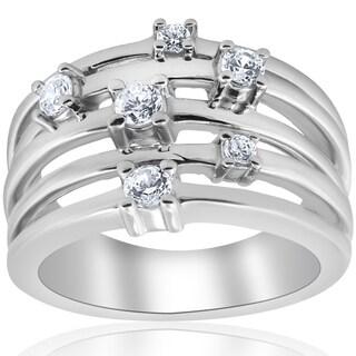 Pompeii3 10K White Gold 3 4 Ct TDW Multi Row Diamond Crossover Wide Ring