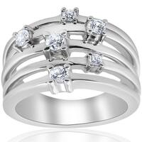 Bliss 10K White Gold 3/4 ct TDW Multi Row Diamond Crossover Wide Ring