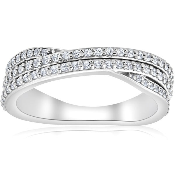 Bliss 10K White Gold 5/8 ct TDW Multi Row Diamond Crossover Wide Ring