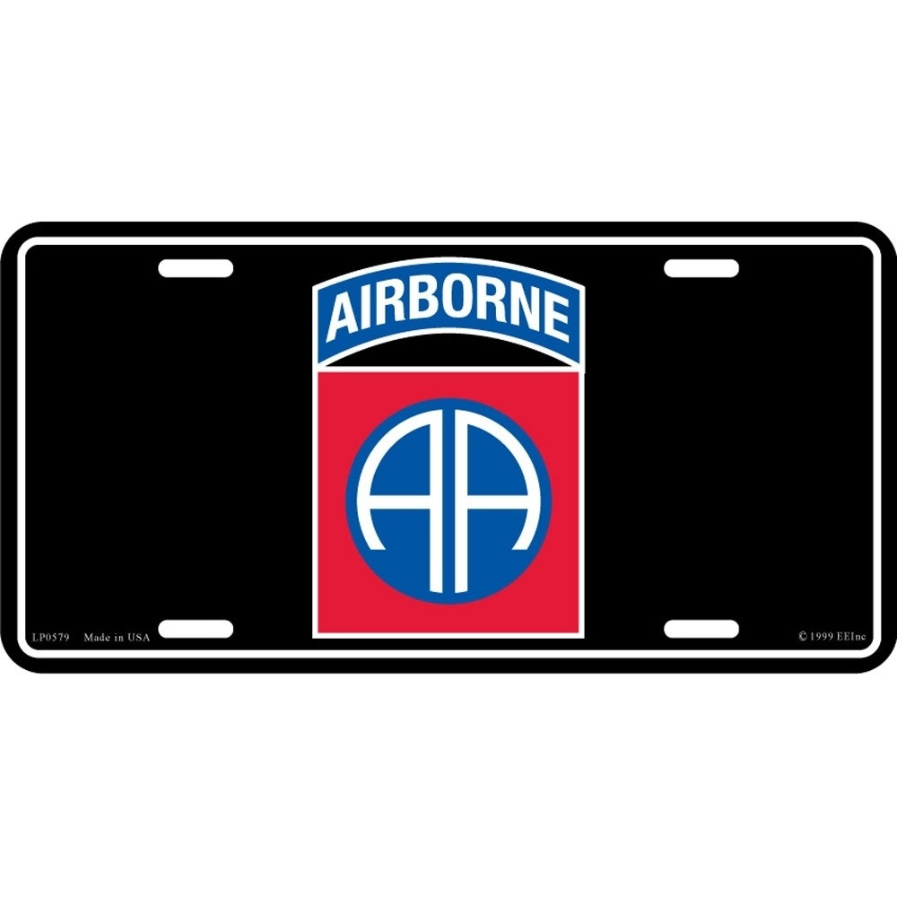 US Army 82nd Airborne Division License Plate, Black