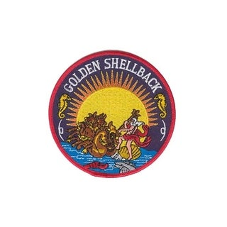 US Navy Golden Shellback Embroidered Patch 4-1/4 Inches