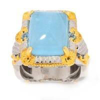 Michael Valitutti Palladium Silver Milky Aquamarine & Swiss Blue Topaz Cocktail Ring
