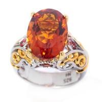 Michael Valitutti Palladium Silver Madeira Citrine & Orange Sapphire Scrollwork Ring